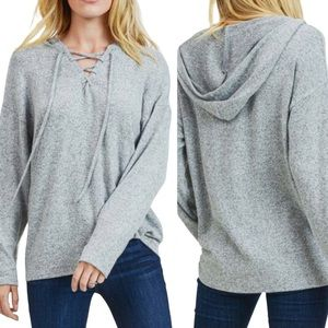 ECLIPSE Lace Up Hooded Top Heathered Grey Size M